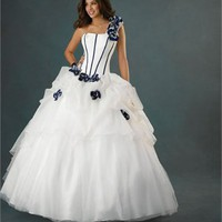New Style One-shoulder Flower Satin Tulle Ball Gown Quinceanera Dress QD085