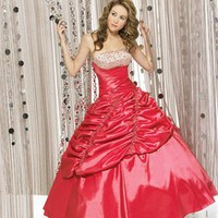 Luxurious Beaded Embroidery Hollow Back Ball Gown Quinceanera Dress QD071