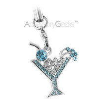 Get Martini Glass Cubic cell phone charm - blue Shipped Free in U.S.