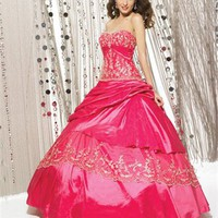 DeepPink Embroidery Hollow Back Taffeta Ball Gown Quinceanera Dress QD069