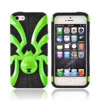 Apple iPhone 5 Hard Case Over Silicone - Lime Green Spider on Black