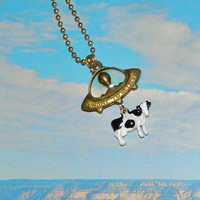 Alien Abduction of Cow Necklace Black and White by Masquefaire