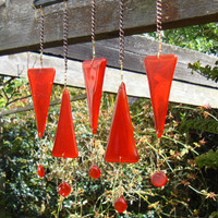 Sun Catcher Wind chimes Orange Red fused glass by GeckoGlassDesign