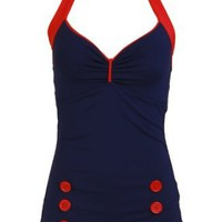 Amazon.com: Navy Blue Vintage Retro Pin up Rockabilly Sailor Nautical Women's Bathing Suit Swimsuit Swimwear - Small: Clothing