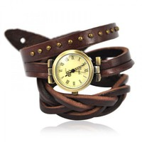 Brown Wrap Leather Strap Watch
