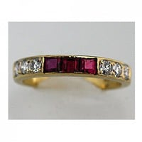 Estate 18 Kt Yellow Gold Channel Set Diamond and Ruby Wedding Band | artdecodiamonds - Wedding on ArtFire