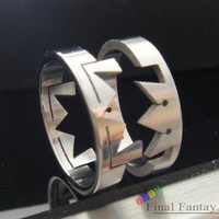 1 Pcs Kingdom Hearts Paired Crown Stainless Steel Ring Japan Anime US Size 8
