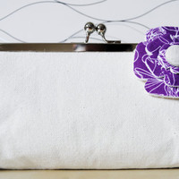 Bridesmaid&#x27;s purse / clutch Purple with white by ariannelim