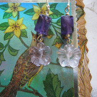Amethyst Earrings by janislogsdongems on Etsy