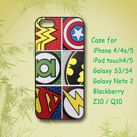 Super Hero logo, iPhone 5 Case, iPhone 4 Case, ipod 4, ipod 5, Samsung galaxy S4, Samsung S3, Samsung note 2, blackberry q10, blackberry z10