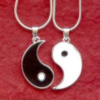 YIN YANG NECKLACES NEW 2 Charm Pendants and Silver Plated 18inch Chains share