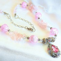 Sparkling Pink Large Faceted Rhinestone, Silver Plated, Bead Necklace