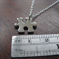 Miniature Puzzle Piece Silver Pendant Necklace by GorjessJewellery
