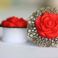 Red Rose and Filagree Ear Gauges, Ear Plugs