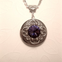 Royalty Purple Rustic Silver Queen Locket Necklace