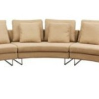 Lilia Curved 3-Piece Tan Fabric Modern Sectional Sofa