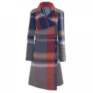 Asymmetric giant check coat
