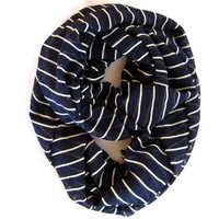 Striped Infinity Scarf, Eternity Scarf, Nautical, Striped Scarf, Navy Blue, White
