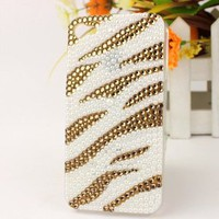 3D Bling Crystal iPhone Case for AT&T Verizon Sprint Apple iPhone 4/4S Gold and White Zebra Print: Cell Phones & Accessories