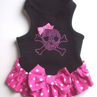 Dog Dress Pink Black Wife Beater Dog Dress with Pink Skull and Crossbones and Bow
