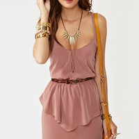 Twisted Peplum Dress - Dusty Rose in  What's New at Nasty Gal