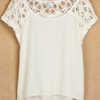 Lace Stitching Short Sleevees Chiffon Shirts