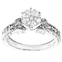Engagement Ring - Round Vintage Style Engraved Engagement Ring with pave Sidestones 0.20 tcw. In 14K White Gold - ES438