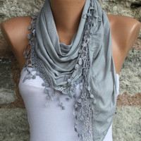 Gray Shawl Scarf Headband Necklace Cowl by fatwoman on Etsy