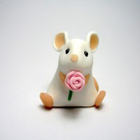 Little White Mouse with Pink Rose Ornament/Cake Topper | QuernusCrafts - Sculpture on ArtFire
