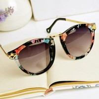 Flora Print Cat Eye Sunglasses kA01