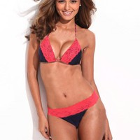 Solid Lace Triangle Bikini Set