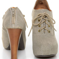 Qupid Puffin 28 Stone Canvas Lace-Up Ankle Booties - &amp;#36;39.00