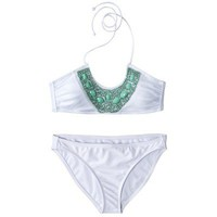 Xhilaration® Junior's 2-Piece Beaded Swimsuit -White
