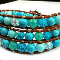 Turquoise Gemstone Crackle Bead Leather Wrap Chan Luu Style Bracelet