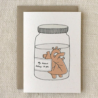 Anniversary Card Heart in a Jar by witandwhistle on Etsy