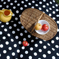 WATERPROOF Picnic Blanket in Black White Polka Dots / Eco Friendly Retro Summer Beach Blanket with Non Toxic Backing