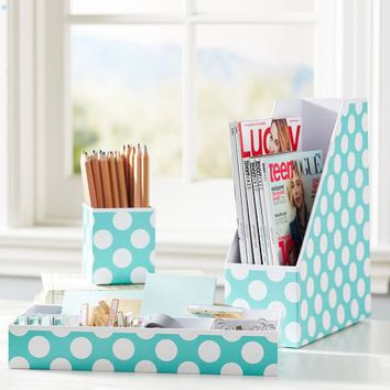 Preppy Paper Desk Accessories - Pool Dottie