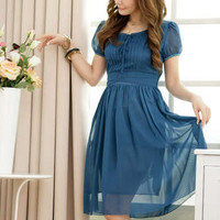 A1201 Japan Korea Fashion Blue Women Lady Elegant Pleated Chiffon Cocktail Dress
