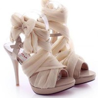 High Heel Chiffon Lace Up Sandals for Women 981