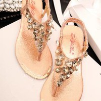 Heart Shape Rhinestone Flat Sandals Q060515