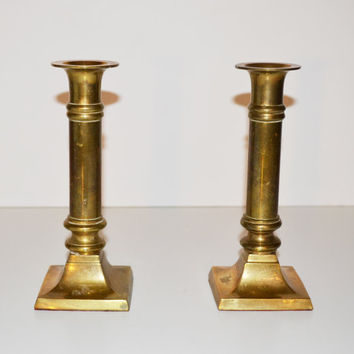 Vintage Hollywood Regency Brass Candlesticks Set of 2 Mid Century Candle Holders