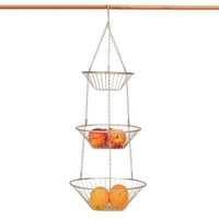 3 TIER WIRE nickel HANGING fruit veg Basket KITCHEN NU