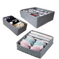 3 Pcs, 24-Cell, 7-Cell, 6-Cell Underwear Socks Ties Bra Drawer Organizer Storage Box,Bamboo Charcoal Abosrbs Moisture and Smell:Amazon:Home & Kitchen