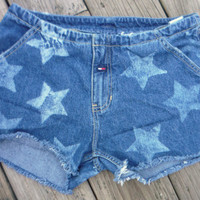women's Tommy Hilfiger cut off denim short Size 11 bleached stars decoration