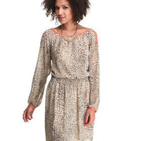 DJPremium.com - Women - Shop by Department - Sale - Dresses - Contrast Cold Shoulder Cheetah Print Dress