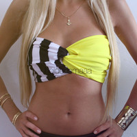 Spandex Bandeau  Yellow/Stripes by Holdensmaaa on Etsy