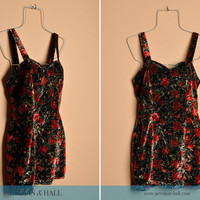Vintage 1990s Velvet Floral Mini Dress, By Rampage, Size Small
