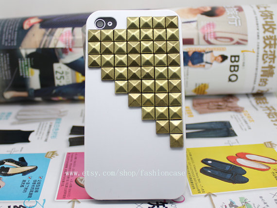 Hard Case Cover For iPhone 4,iPhone 4s With Metal Bronze Stud