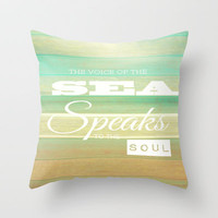 The Voice Of The Sea Throw Pillow by Ally Coxon
