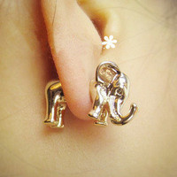 Eternal — Animal metallic solid elephants African elephant stud earrings